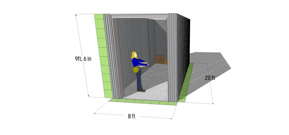 Drawing of internal sizing of storage container